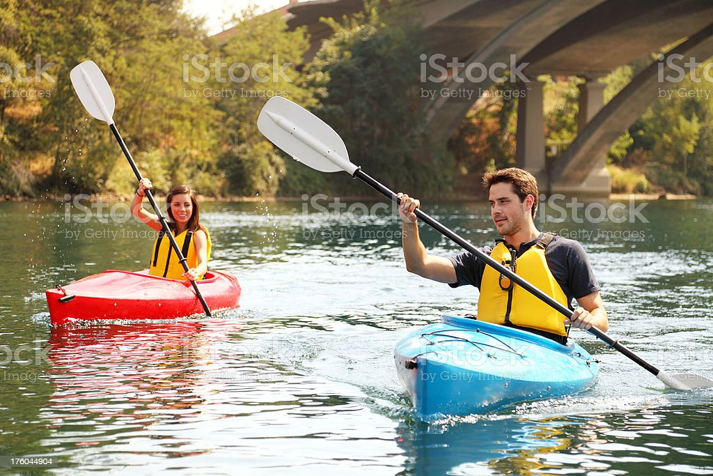 Two People Kayaking royalty-free stock photo