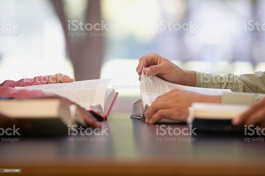 Two people reading stock photo