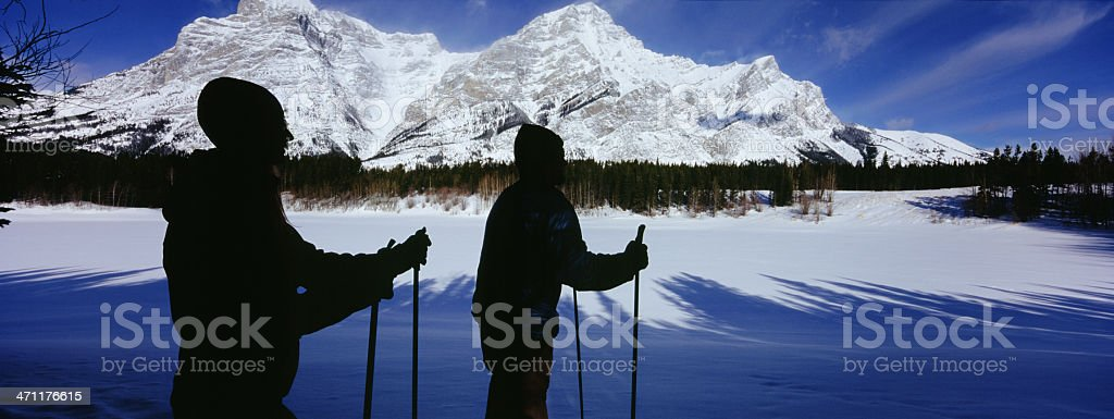 Two people skiing royalty-free stock photo