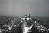 Two people waterskiing