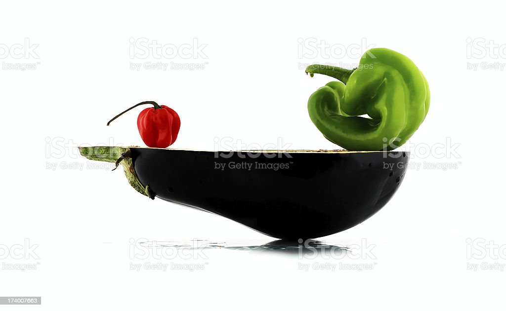 two peppers and eggplant royalty-free stock photo