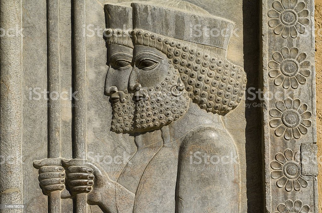 Two Persian Soldiers in Persepolis stock photo