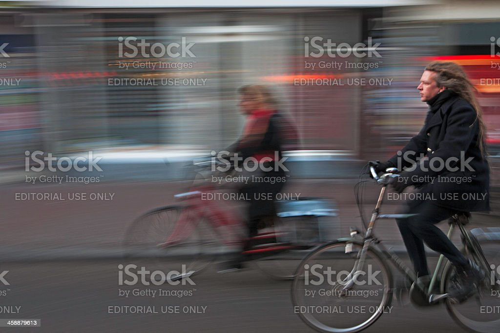 Two person in a bicycle ride royalty-free stock photo
