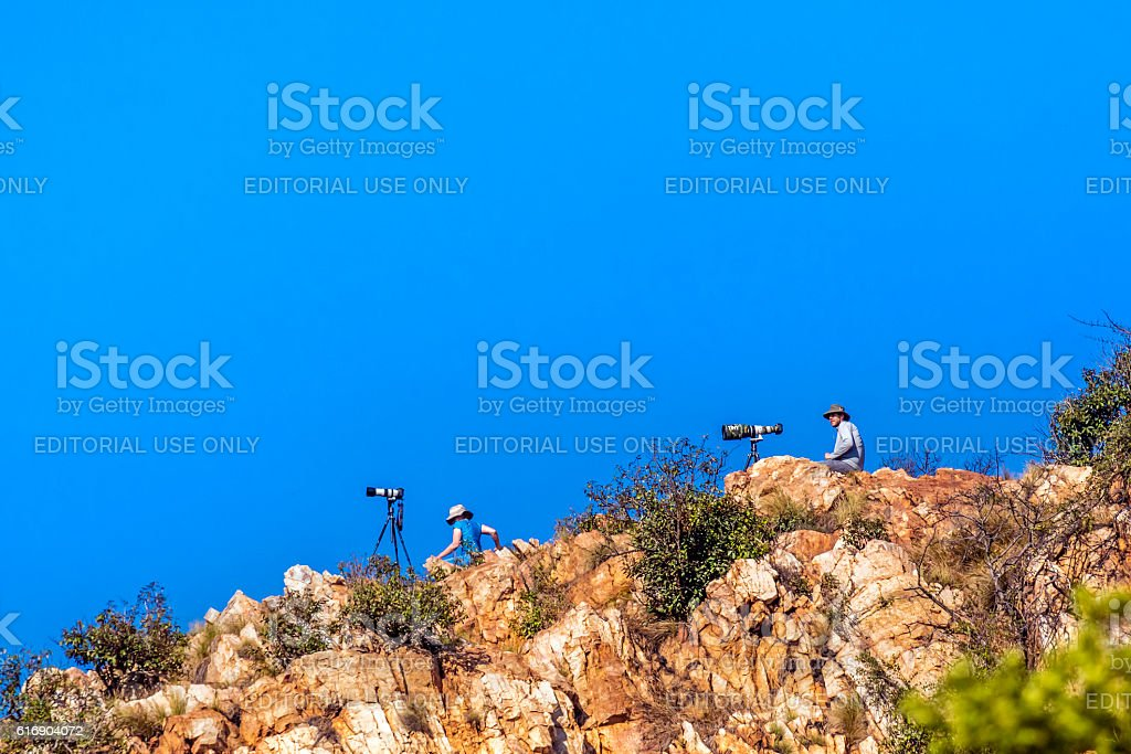 Two photographers up on the hill stock photo