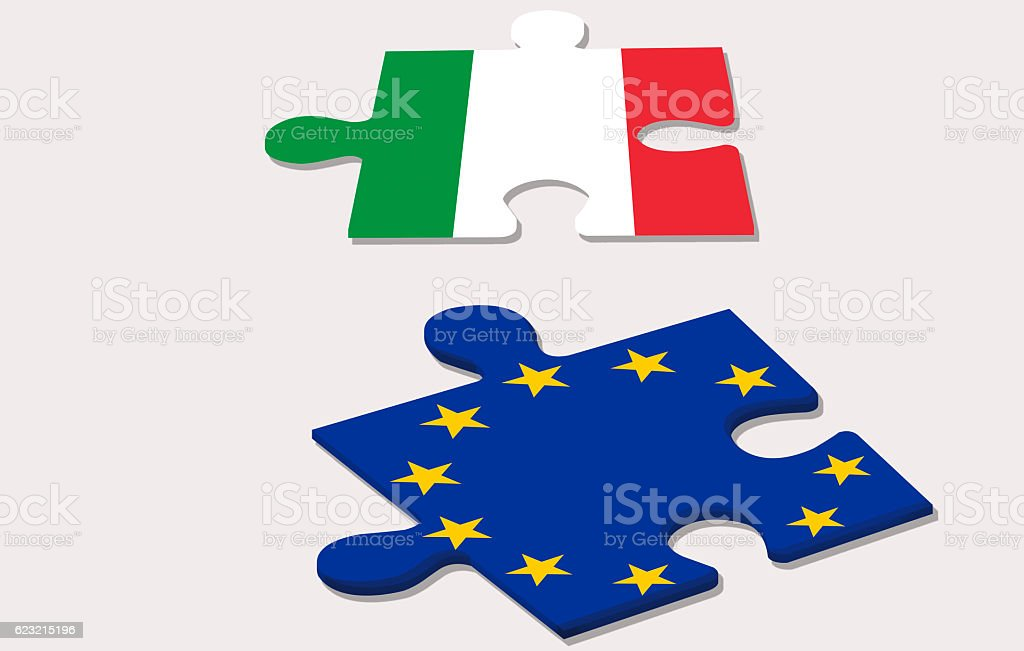 two piece of puzzle and costitutional referendum in italy stock photo