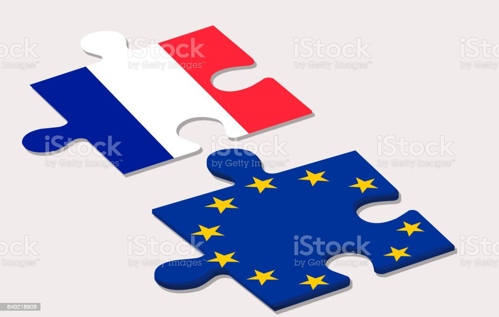 two piece of puzzle representing france and european union durin stock photo