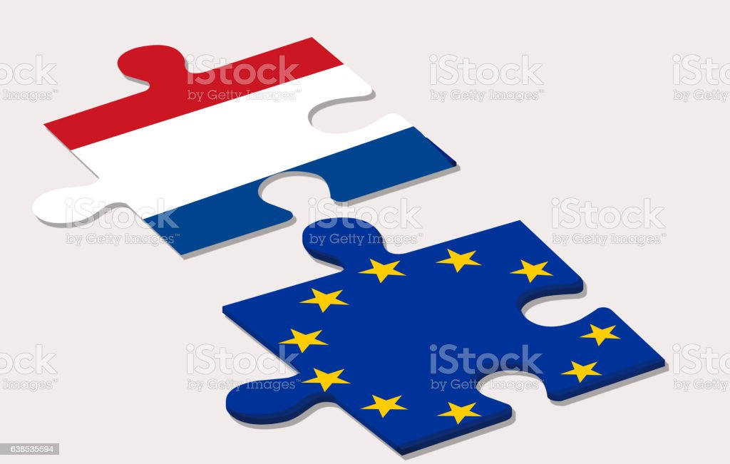 two piece of puzzle representing holland and european union duri stock photo