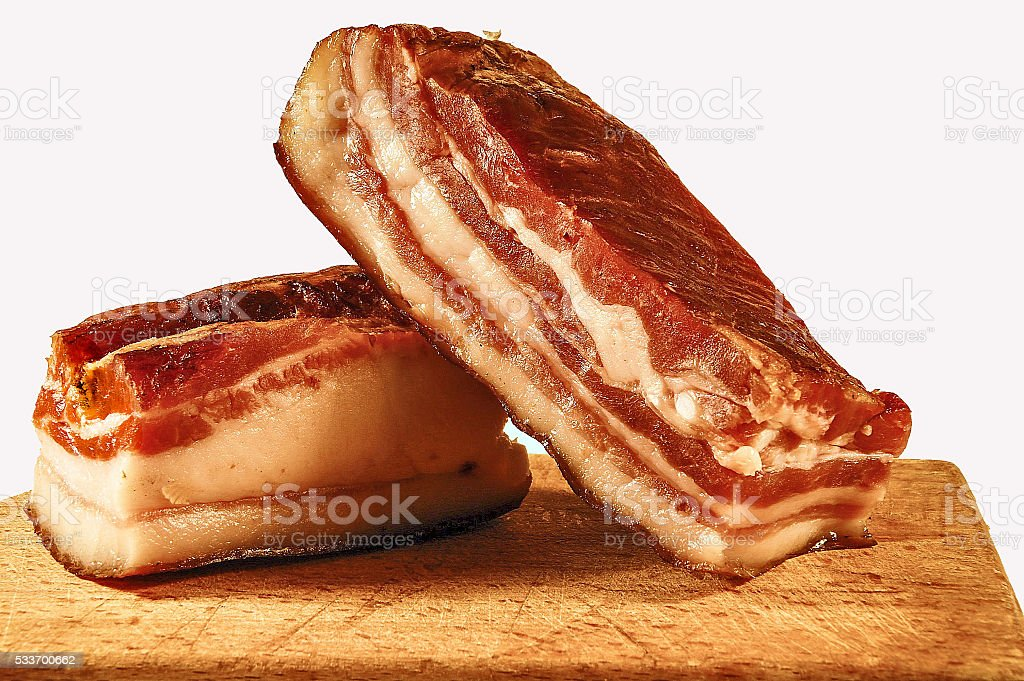 Two pieces bacon stock photo