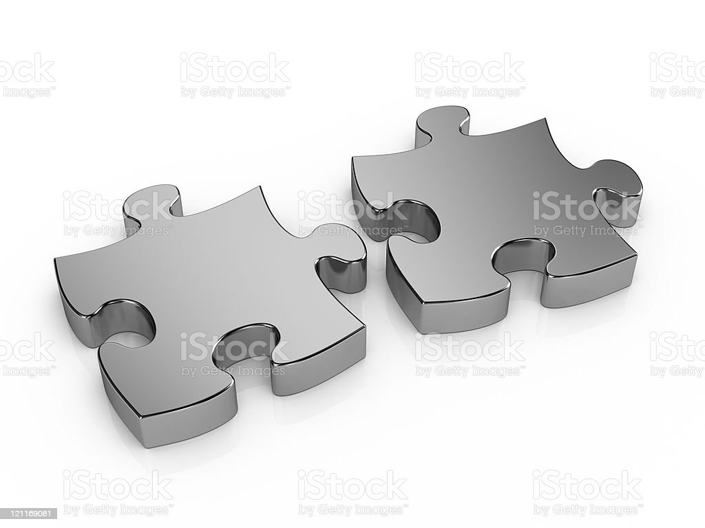 Two pieces metal puzzle royalty-free stock photo
