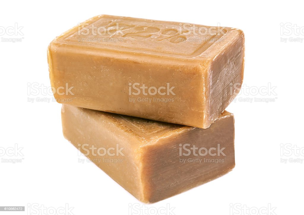 two pieces of brown soap stock photo