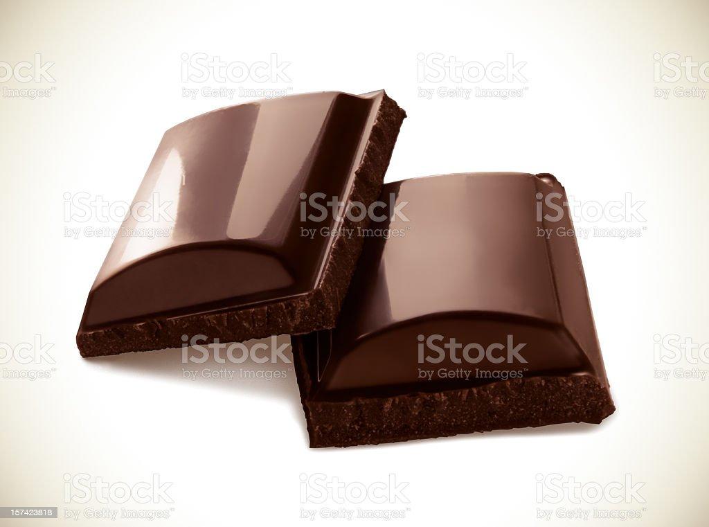 Two pieces of dark chocolate stock photo