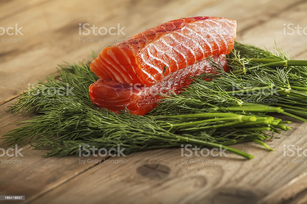 Two pieces of gravlax royalty-free stock photo