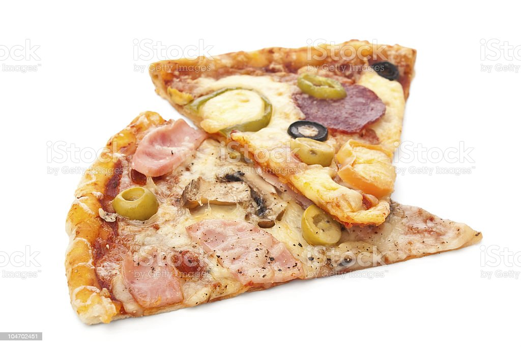 two pieces of pizza royalty-free stock photo