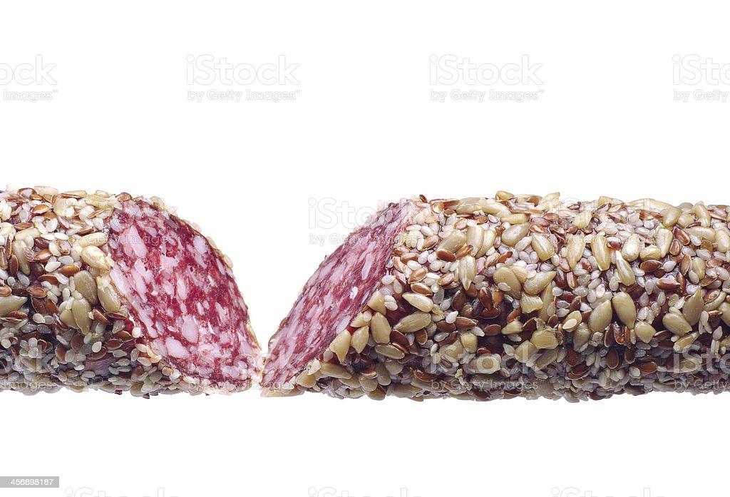 Dos piezas de salchichas con semillas de girasol foto de stock libre de derechos