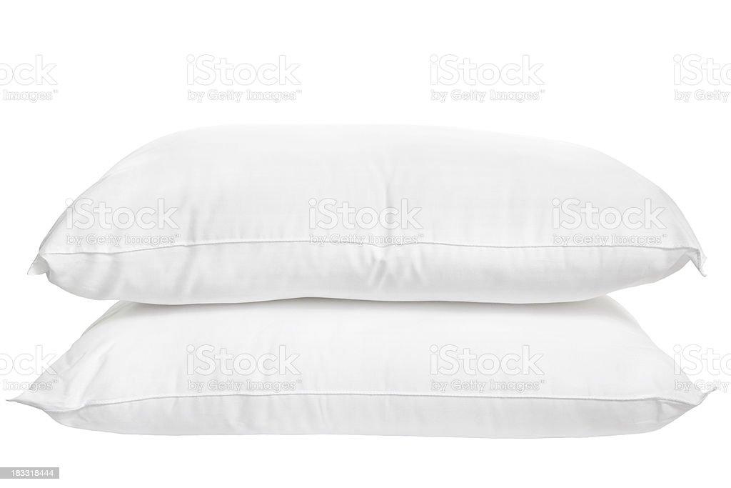 Two pillows on white background stock photo