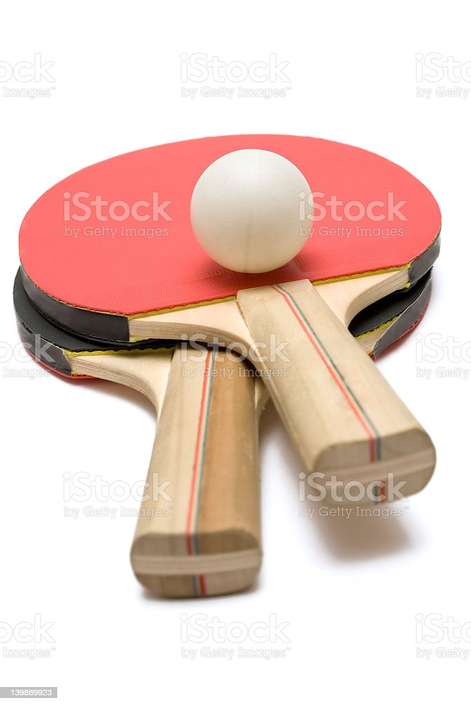 Two Ping Pong Paddles w/ Ball royalty-free stock photo