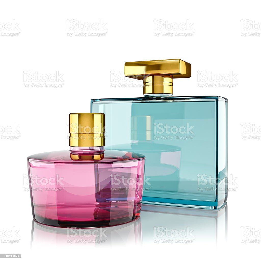 Two pink and blue bottles of perfume stock photo