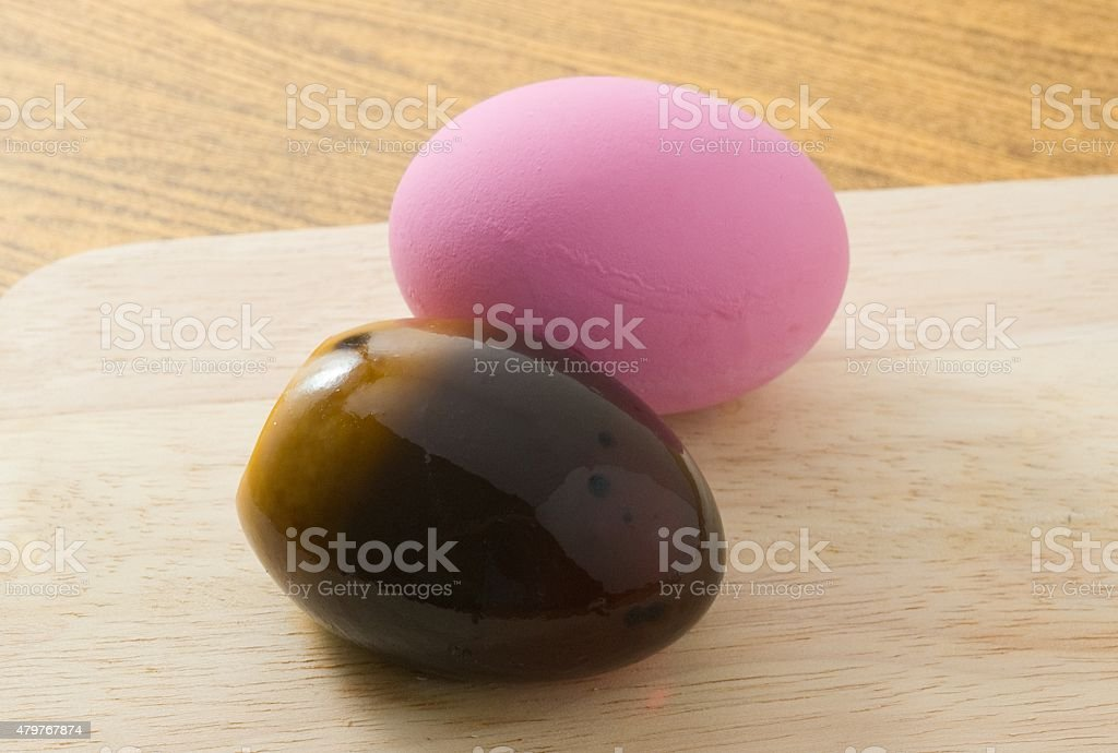 Two Pink Century Eggs or Pidan Eggs stock photo