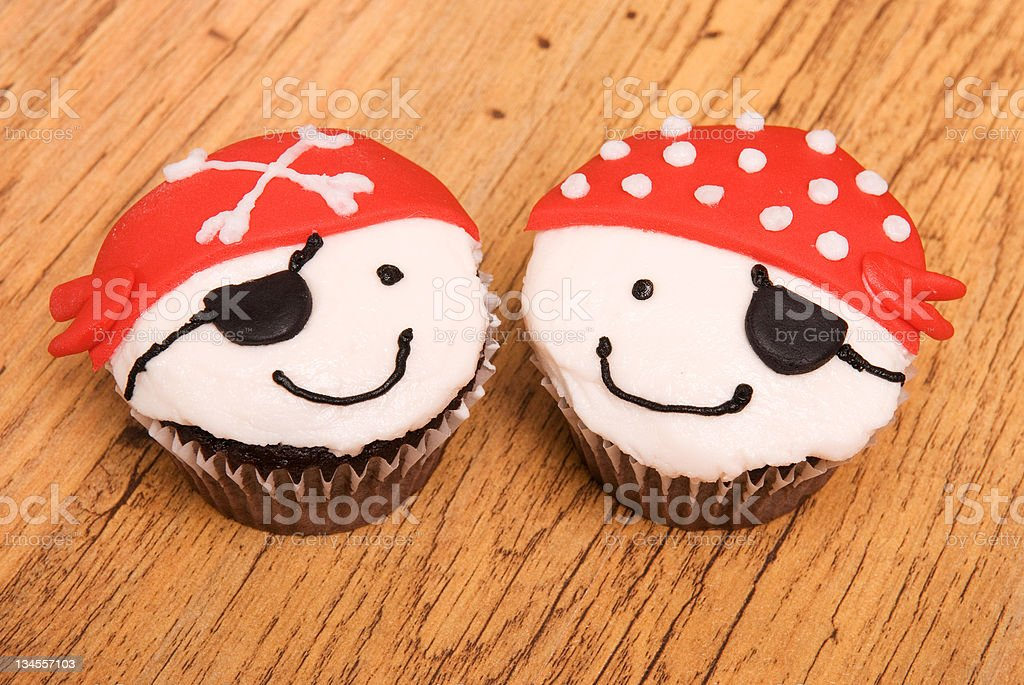 Two Pirate Cupcakes stock photo