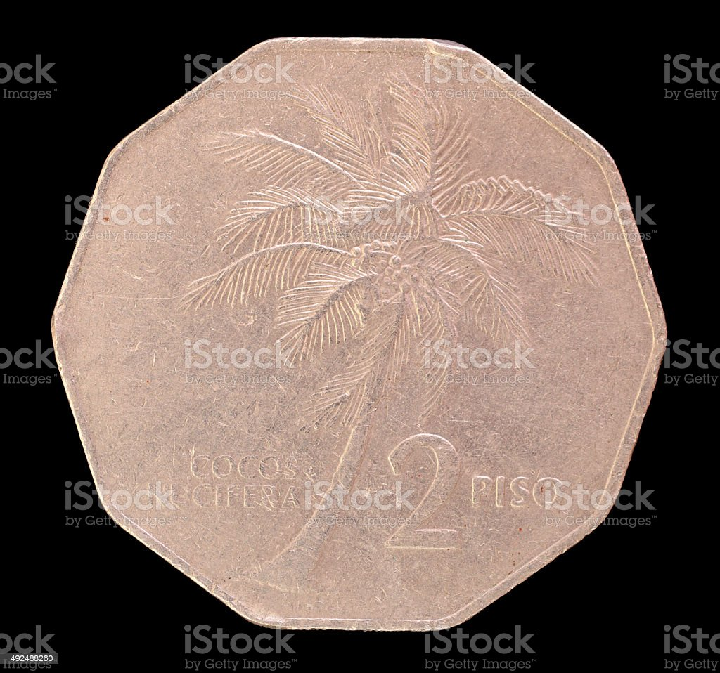 Two piso coin, issued by Philippines depicting a coconut palm stock photo