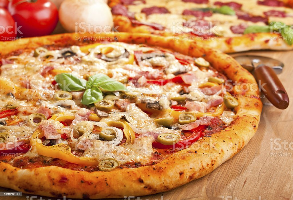 two pizzas stock photo