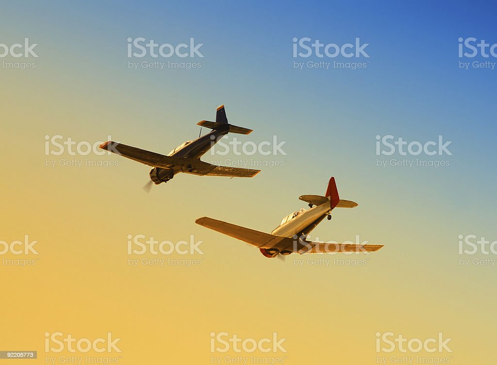Two planes flying together in the sky royalty-free stock photo