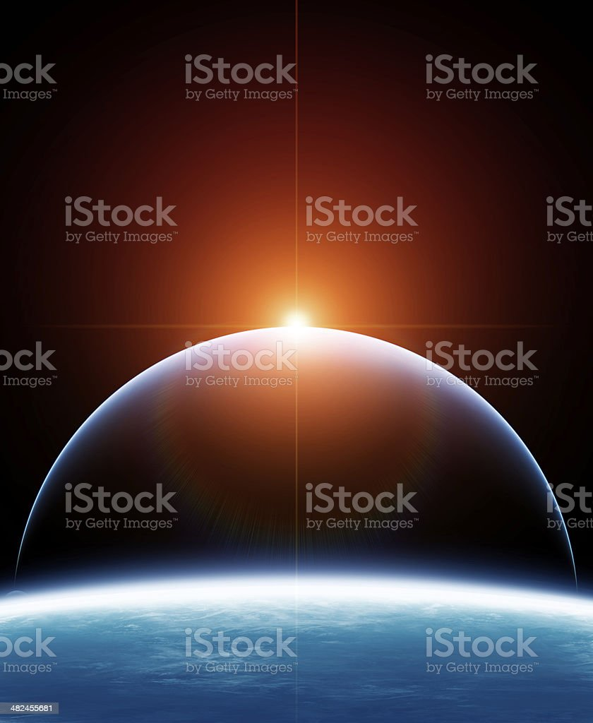 Two Planet with Rising Star stock photo