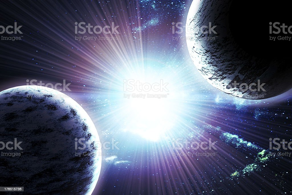 two planets in space royalty-free stock photo