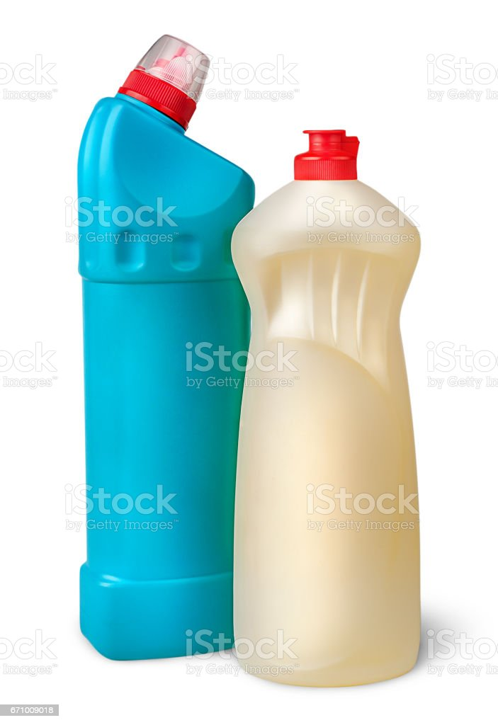 Two plastic bottles of disinfectant near stock photo