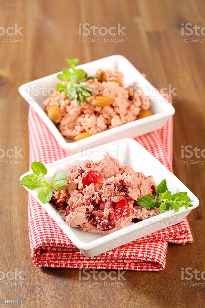 Two plates with liver mousse stock photo