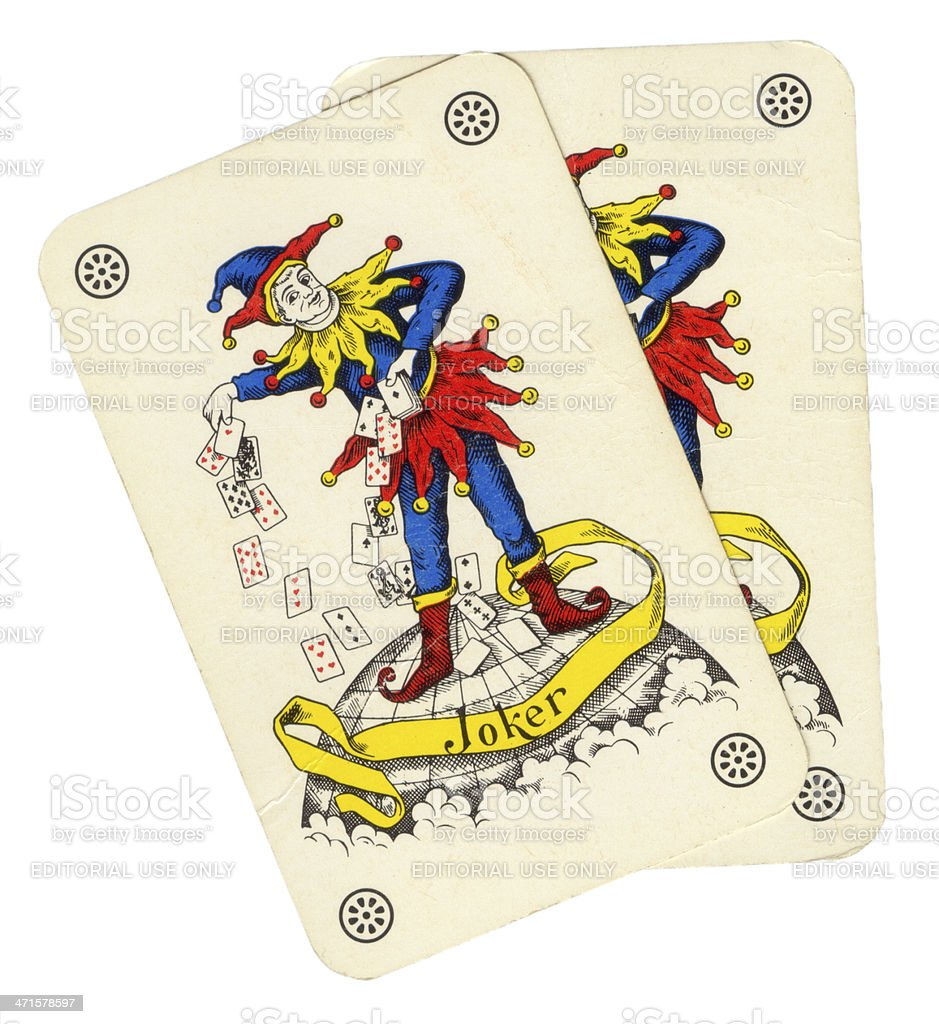 Two playing card joker jester style stock photo