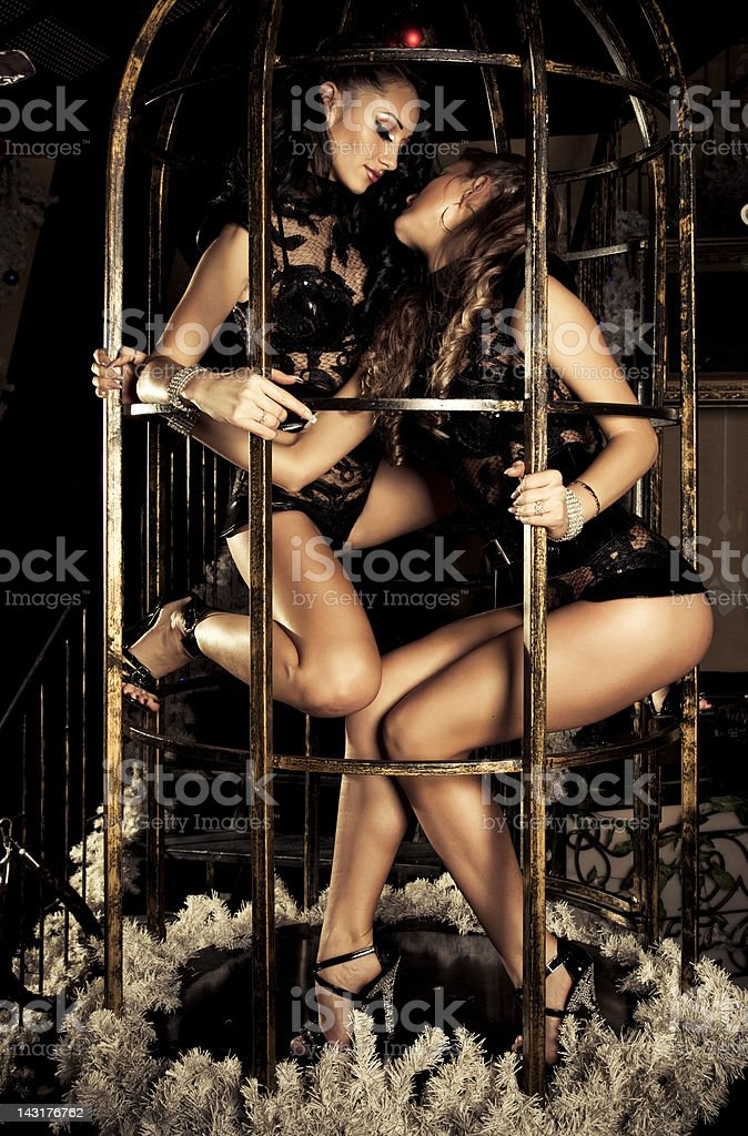 Two pole dancers at a nightclub stock photo
