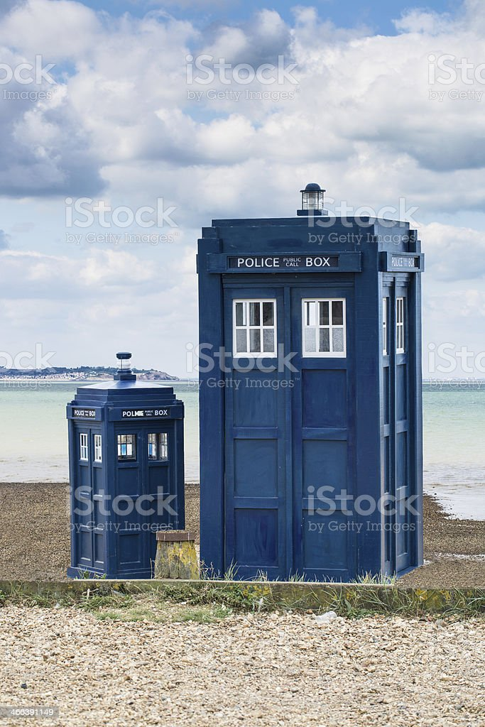 Two Police Boxes stock photo