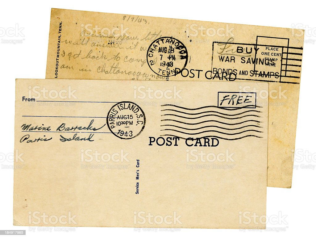 Two postcards from US servicemen, 1943 stock photo