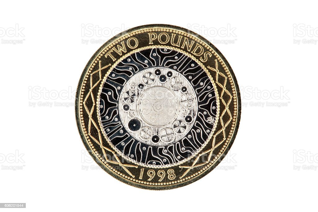 Two pound coin (Standing on the Shoulders of Giants) stock photo