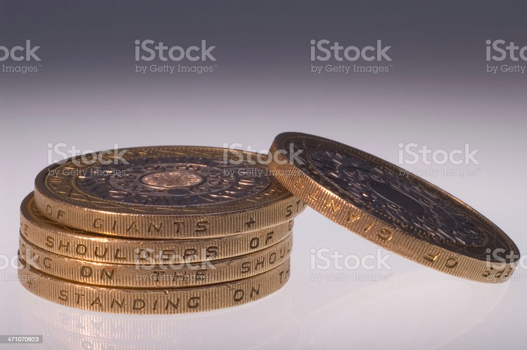Two Pound Coins Displaying Motto stock photo