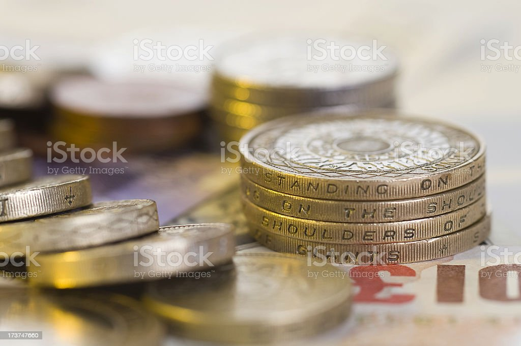 Two Pound Coins & Greenback H stock photo