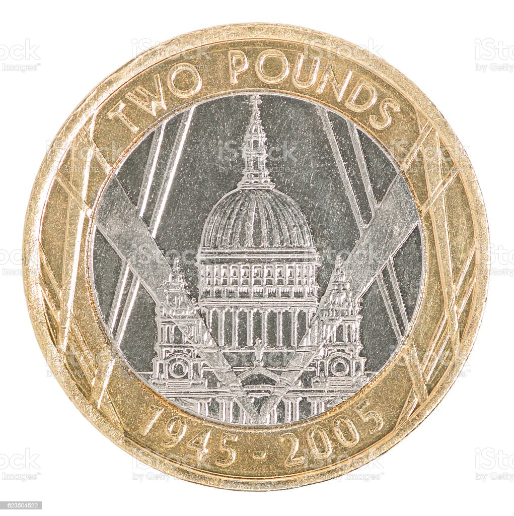 Two pounds coin stock photo