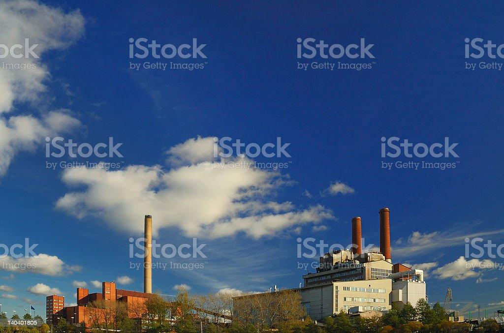Two power plants stock photo