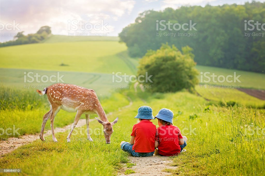 Two preschool children, sitting in the rural, contemplating litt stock photo