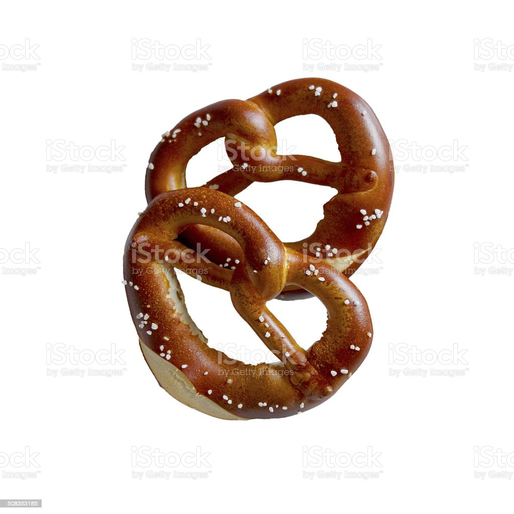 Two pretzels isolated on white stock photo