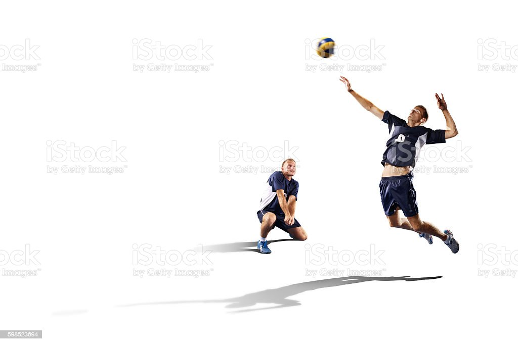 Two professional volleyball players isolated on white stock photo