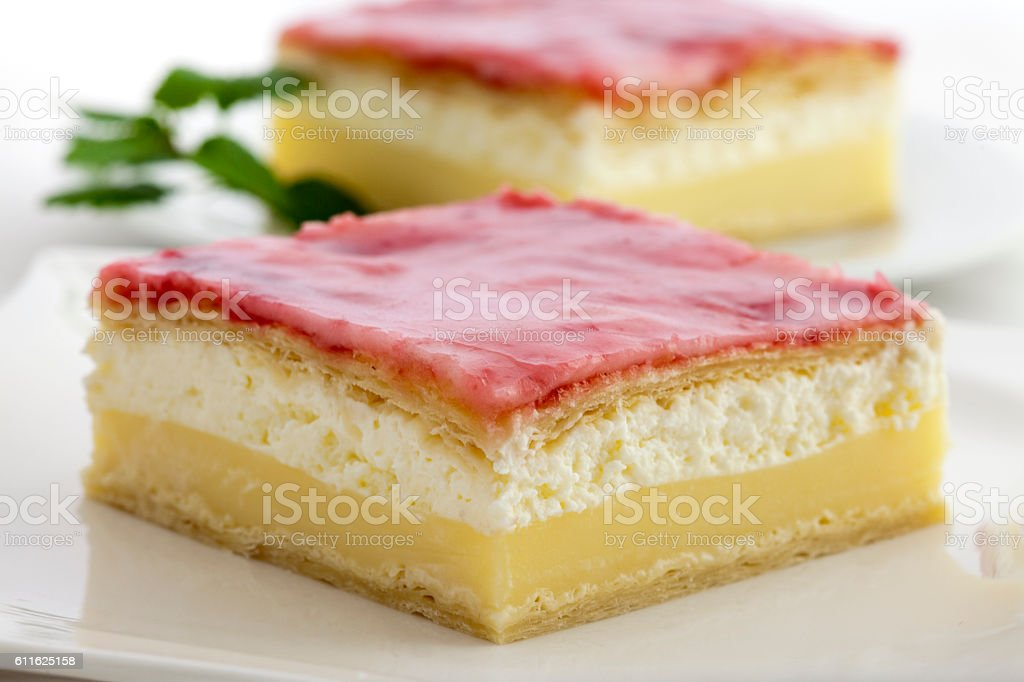 Two pudding desserts with whipped cream and vanilla custard stock photo