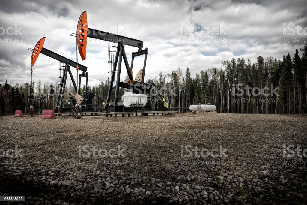 Two pumpjacks forest stock photo