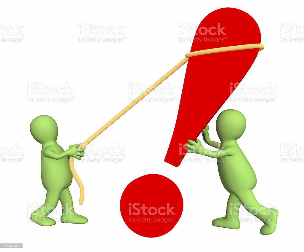 Two puppets installing an exclamation mark royalty-free stock photo