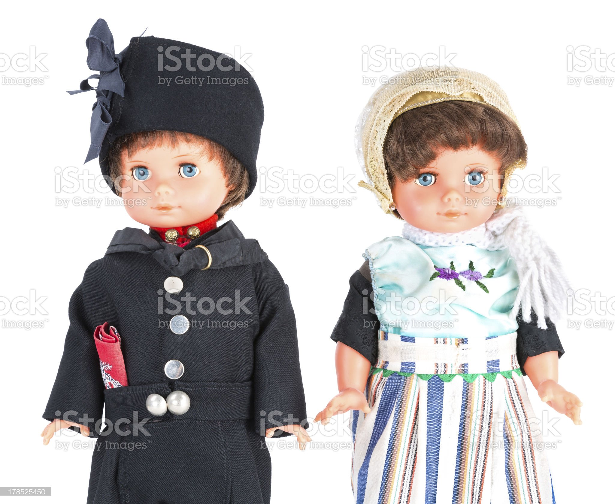 Two puppets with traditional Dutch clothes of Urk royalty-free stock photo