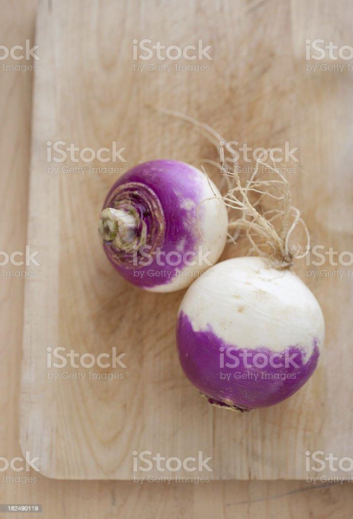Two Purple and White Turnips stock photo