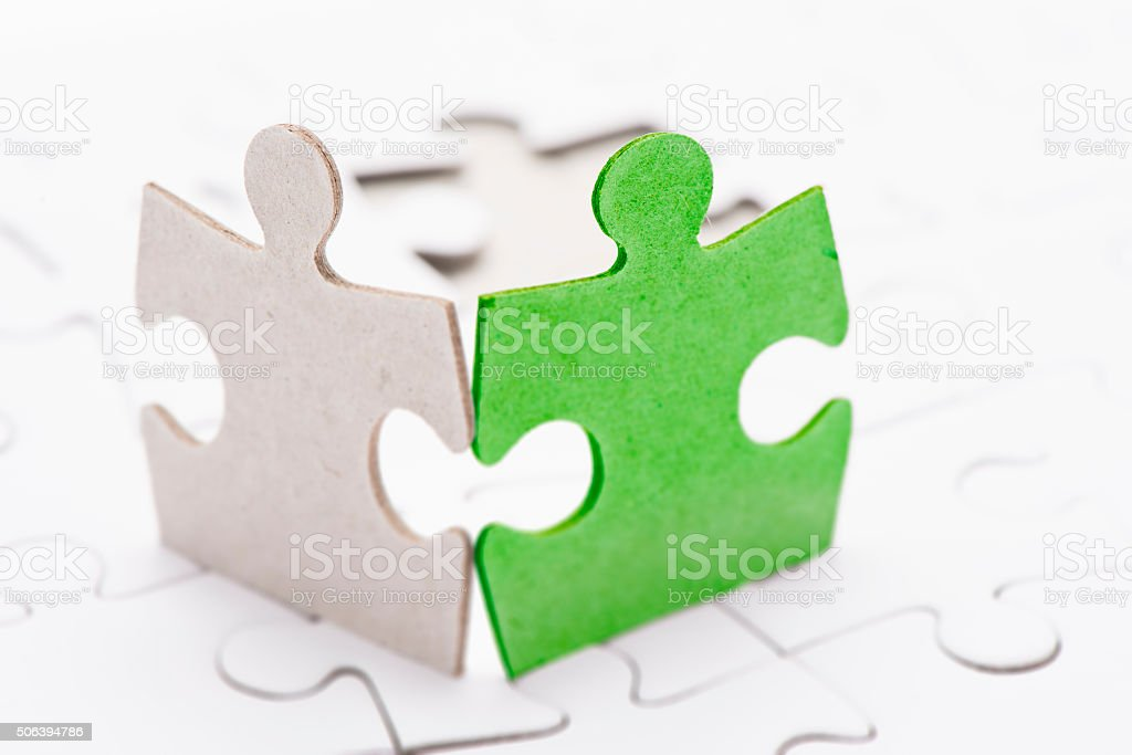 Two puzzle pieces stock photo