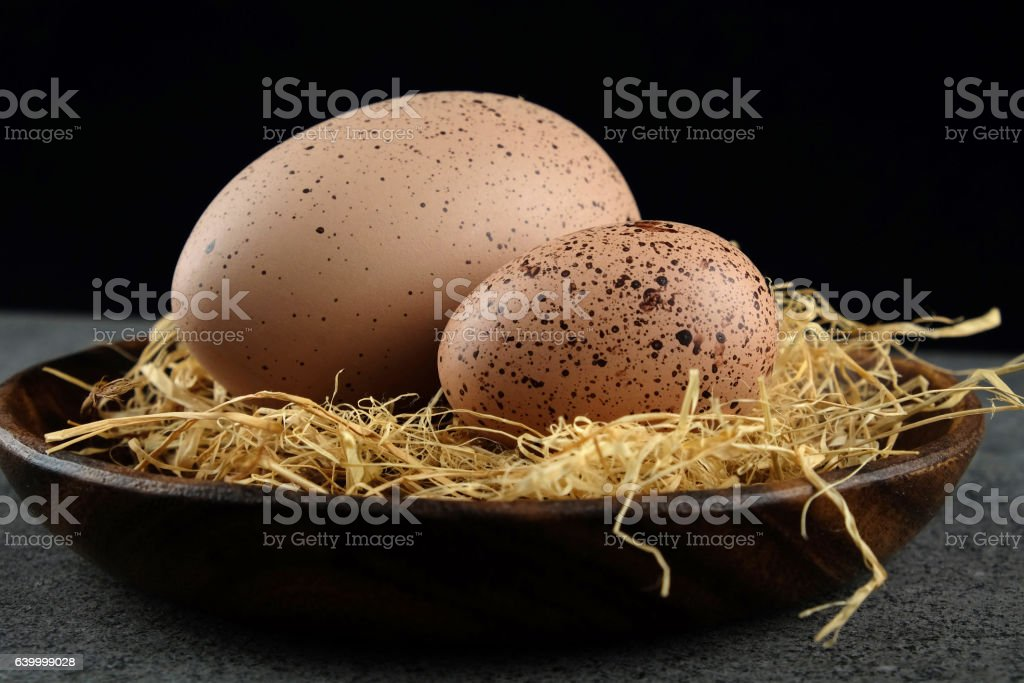 Two quail easter eggs on wooden plate with hay. stock photo