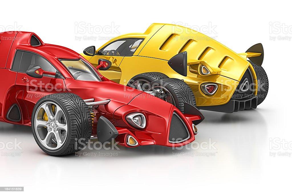 two racecars stock photo
